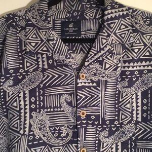 CARIBBEAN JOE Men Paisely 💯 % Silk Shirt- Size L